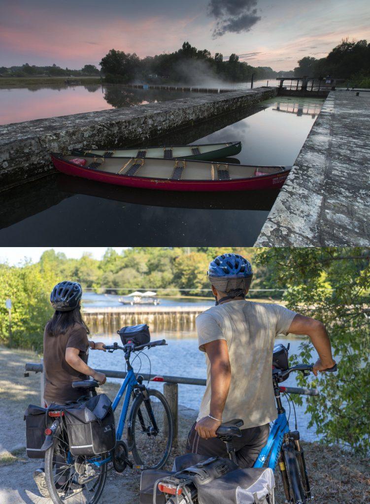 notre matériel, canoës canadiens et vélos VTC